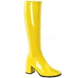Botas amarelas envernizado 7,5 cm GOGO-300 botas de salto alto para homens