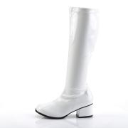 Botas brancas cano alto 5 cm - calcanhar botas años 70 hippie disco couro envernizado