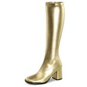 Botas cano alto dourados vinil 7,5 cm - calcanhar botas años 70 hippie disco