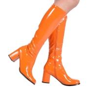 Botas laranja cano alto 7,5 cm - calcanhar botas años 70 hippie disco couro envernizado