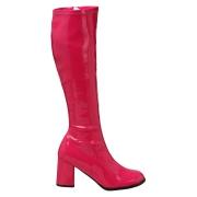 Botas pink cano alto 7,5 cm - calcanhar botas años 70 hippie disco couro envernizado