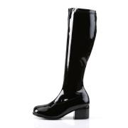 Botas pretas cano alto 5 cm - calcanhar botas años 70 hippie disco couro envernizado