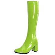 Botas verdes cano alto 7,5 cm - calcanhar botas años 70 hippie disco couro envernizado