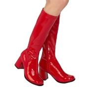 Botas vermelhas cano alto 7,5 cm - calcanhar botas años 70 hippie disco couro envernizado