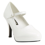 Branco 10 cm CONTESSA-50 Mary Jane Scarpin Sapatos Altos