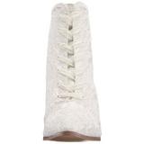 Branco 12 cm VICTORIAN-30 Botinha Mulher Cano Curto com Cadarco