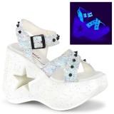 Branco 13 cm Demonia DYNAMITE-02 sandálias de cunha plataforma