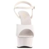 Branco 15 cm DELIGHT-609 saltos altos pleaser com plataforma