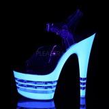 Branco 18 cm ADORE-708UVLN Sandálias Plataforma Neon
