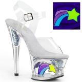 Branco 18 cm MOON-708RSS Neon plataforma salto alto mulher