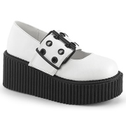 Branco 7,5 cm CREEPER-230 maryjane creepers sapatos fivela larga