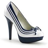 Branco Azul 13 cm LOLITA-13 sapato scarpin para noite de gala