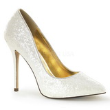 Branco Brilhoso 13 cm AMUSE-20G sapato scarpin para noite de gala
