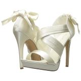 Branco Cetim 12 cm LUMINA-29 sandálias para noite de gala