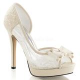 Branco Cetim 12 cm LUMINA-33 sapato scarpin para noite de gala
