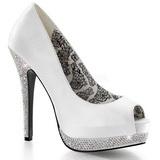 Branco Cetim 13,5 cm BELLA-12R Pedra Cristal Plataforma Scarpin Calçados
