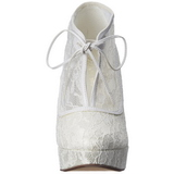 Branco Cetim 13 cm LOLITA-32 sapato scarpin para noite de gala