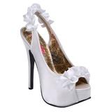 Branco Cetim 14,5 cm Burlesque TEEZE-56 Sandálias Salto Agulha