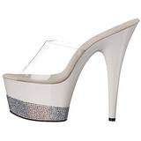 Branco Diamante 18 cm Pleaser ADORE-701-3 Plataforma Tamancos Altos
