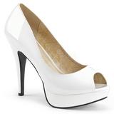 Branco Envernizado 13,5 cm CHLOE-01 numeros grandes scarpin mulher