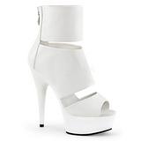 Branco Fosco 15 cm DELIGHT-600-16 Botinha Feminino Open Toe