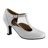 Branco Fosco 7,5 cm retro vintage FLAPPER-26 Sapatos Scarpin Femininos
