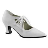Branco Fosco 7 cm retro vintage VICTORIAN-03 Sapatos Scarpin Femininos