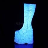 Branco Glitter 18 cm STACK-301G botas demonia - botas de cyberpunk unisex