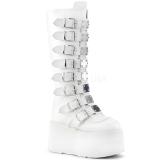 Branco Imitação Couro 9 cm DAMNED-318 plataforma botas mulher com fivelas