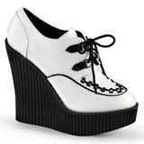 Branco Imitação Couro CREEPER-302 sapatos creepers cunha altos