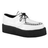 Branco Imitacao Couro V-CREEPER-502 Creepers Sapatos Homem Plataforma