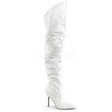 Branco Imitação de couro 10 cm CLASSIQUE-3011 Longas Bota Acima Do Joelho