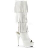 Branco Imitacao de couro 15 cm DELIGHT-2019-3 botas com franjas salto alto