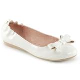 Branco OLIVE-03 sapatos de bailarinas com gravata borboleta