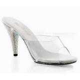Branco Transparente 11 cm CARESS-401DM Tamancos Strass Altos