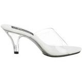 Branco Transparente 8 cm BELLE-301 Tamancos Altos para Homens