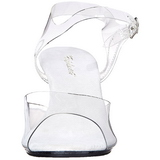 Branco Transparente 8 cm Pleaser BELLE-308 Salto Agulha