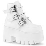 Branco Vegan 9 cm ASHES-55 botinhas demonia plataforma