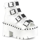 Branco Vegan 9 cm ASHES-70 lolita botinha com salto grosso plataforma