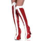 Branco Vermelho 13 cm ELECTRA-2090 Coxa Botas Altas Plataforma