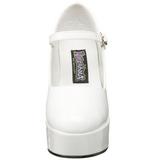 Branco Verniz 11 cm MARYJANE-50 Mary Jane Plataforma Scarpin Salto Alto