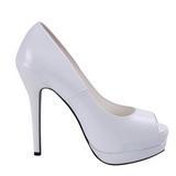 Branco Verniz 13,5 cm BELLA-12 Sapatos Scarpin Salto Agulha