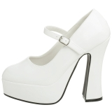 Branco Verniz 13 cm DOLLY-50 Mary Jane Plataforma Scarpin Salto Alto