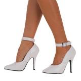 Branco Verniz 13 cm SEDUCE-431 Sapatos scarpin de tiras no tornozelo