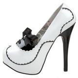 Branco Verniz 14,5 cm Burlesque BORDELLO TEEZE-01 Plataforma Scarpin Salto Alto