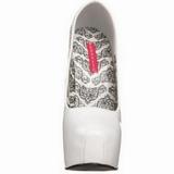 Branco Verniz 14,5 cm Burlesque BORDELLO TEEZE-06 Plataforma Scarpin Salto Alto