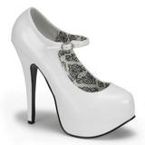 Branco Verniz 14,5 cm Burlesque BORDELLO TEEZE-07 Plataforma Scarpin Salto Alto