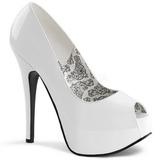 Branco Verniz 14,5 cm TEEZE-22 Sapatos Scarpin Salto Agulha