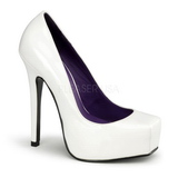 Branco Verniz 14 cm BONDAGE-01 Sapatos Scarpin Femininos