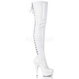 Branco Verniz 15,5 cm DELIGHT-3063 bota plataforma acima do joelho